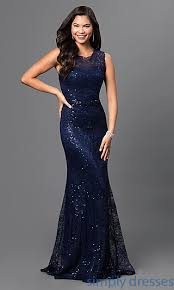 sequined lace navy blue long formal prom dress