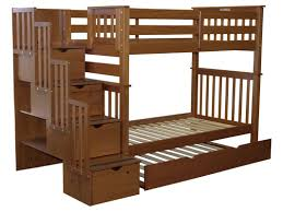 Bedz King Stairway Tall Twin Over Twin Bunk Bed With Trundle - Twin over twin bunk beds