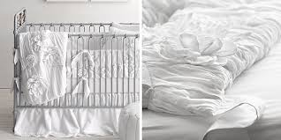 White Ruffle Crib Bedding Rh Baby Child S Washed Appliqu 233 D Fleur Nursery Bedding