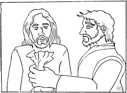 judas betrayed jesus for 30 pieces of silver coloring page free
