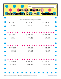 subtracting decimal numbers 5th grade math worksheets