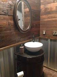 cave bathroom ideas garage remodel rustic bathroom with pallet wall and corrugated tin by