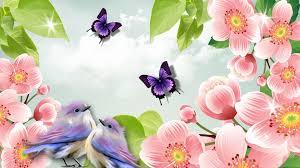 glitter wallpaper with butterflies flower spring summer light birds aroma pink glow sweet fleurs