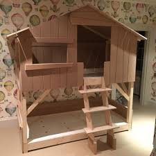 Kids Treehouse Bunk Bed In Natural Pine  MDF Cuckooland - Treehouse bunk beds