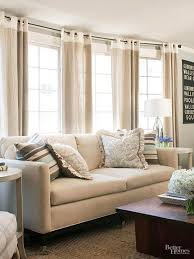 How To Put Curtains On Bay Windows Ideas For Multiple Windows Top Band Drapery Panels And Linens