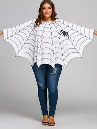 halloween spider web printed plus size poncho blouse white one