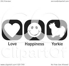 clipart of black and white love happiness and yorkie dog icons