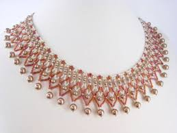 Handmade Seed Beaded Gold Plated Bronze Pearl Beaded Collar Necklace Beadwork Seed Bead Rose