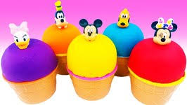 mickey mouse pez learn colors foam clay ice cream surprise eggs