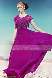 coniefox violet formal prom dresses round neck lace sleeves 56886