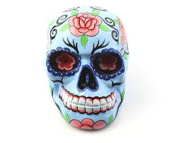large blue sugar skull decor hand painted skull mexican sugar