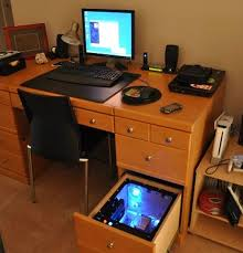 Computer Built Into Desk I M Not Sure This Is Entirely A Use Of A Drawer But How