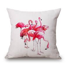 watercolor painting bird flamingo birds love cushion cover pillow