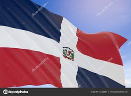 Dominican Republic Flag 3d Rendering Of Dominican Republic Flag Waving On Blue Sky