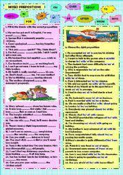 english exercises mixed prepositions