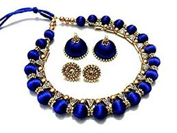 royal blue earrings buy royal blue colour silk thread necklace and earrings online at