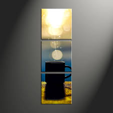 3 piece yellow modern cup sun canvas art prints