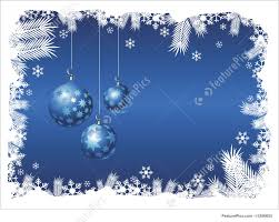 White Christmas Tree With Blue Decorations Illustration Of Christmas Frame