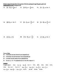 algebra 5 7b slopes of parallel u0026 perpendicular lines worksheet doc u0026
