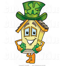 avenue clipart of a home mascot cartoon character with a green