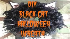 Black Halloween Wreath Diy Pinspired Black Cat Halloween Wreath Youtube