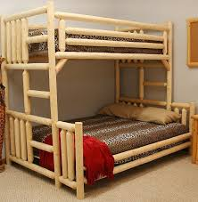Rustic Wood Bedroom Furniture Bedroom Furniture Unfinishing Twin Bunk Bed Rustic Ladder Brown