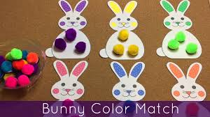bunny color match preschool and toddler learning activity youtube