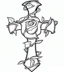 tattoo coloring pages rose and cross coloringstar