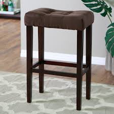 34 Inch Bar Stools Furniture Square Black Wooden Tall Bar Stool With Tufted Fabric