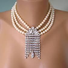 vintage wedding jewelry necklace images Wedding jewelry statement necklace from crystalpearljewelry on jpg