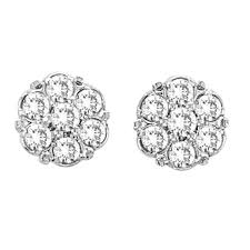 cluster stud earrings flower diamond cluster stud earrings 14k white gold 0 54 ct allurez