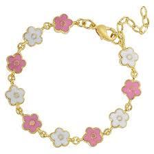 childrens gold bracelets 18k gold overlay enamel children s flower link bracelet