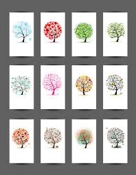 abstract tree cards vector set vector card vector plant free