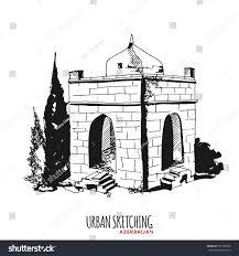 azerbaijan urban sketch ateshgah historical monument stock vector