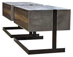 Concrete Side Table Contemporary Side Table Concrete Walnut Patinated Metal