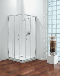 bathroom contemporary square corner glass shower door with white