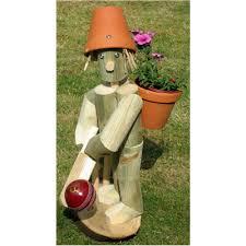 wooden garden flowerpot cricket flowerpot cricketer