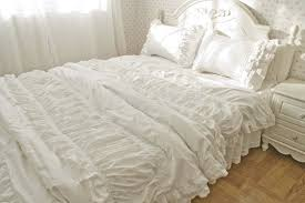 luxury korean embroidered lace ruffle bedding sets snow white lace