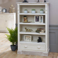 Cream Wood Bookcase Farmhouse 6 Bookcases Shelving U0026 Storage Furniture Ebay