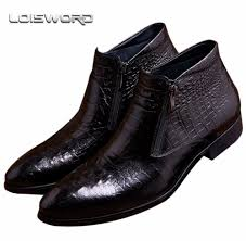 loisword crocodile grain brown tan black mens ankle boots