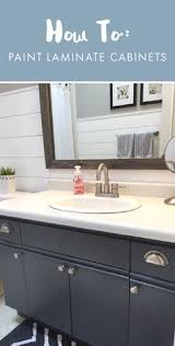 paint formica bathroom cabinets bathroom update how to paint laminate cabinets shiplap bathroom