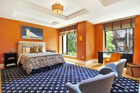 burnt orange living room walls bedroom contemporary with blue rug