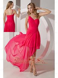 pink one shoulder high low prom dress chiffon beading 119 59