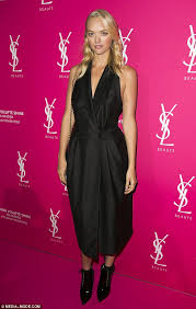 model gemma ward stuns in tuxedo dress at ysl beauty night out