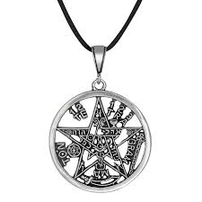 sterling silver large necklace images Sterling silver tetragrammaton pentagram pagan wiccan charm pendant jpg