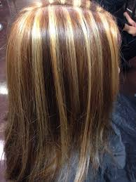 blonde hair with chunky highlights dark brown hair with chunky highlights brown hairs