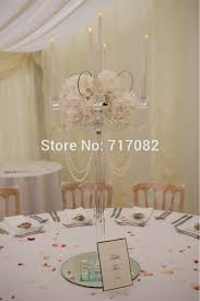 2016 new 5 arm 80cm clear glass crystal candle holders candelabra