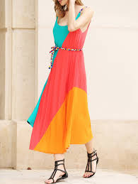 colorful dress gorgeous colorful slant stripe print irregular hem summer
