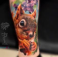 squirrel tattoo realistic calf piece best tattoo design ideas