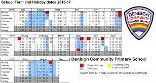 term dates denbigh primary school